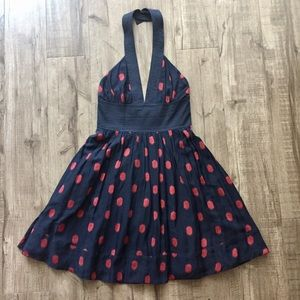 French Connection Polka Dot Halter Dress  Pockets